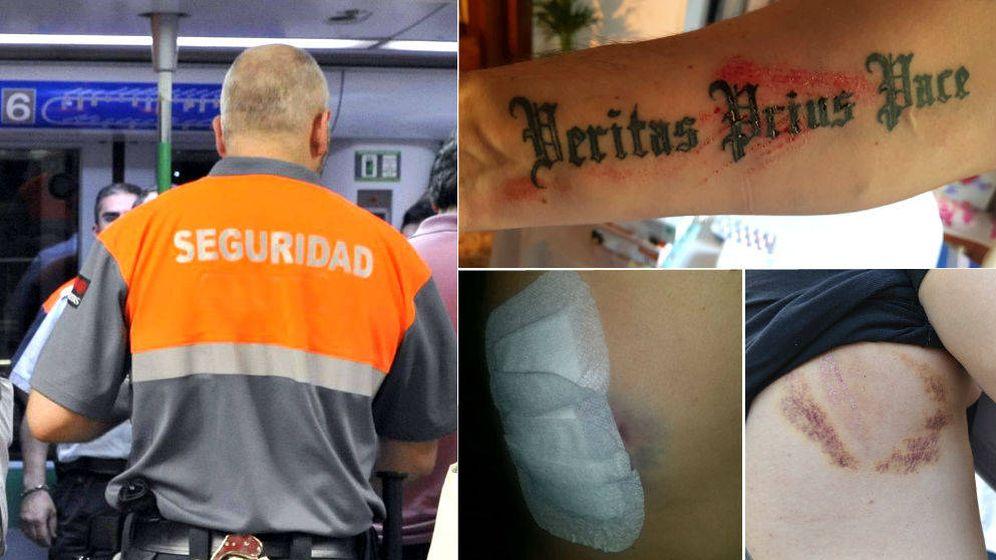 Foto: Algunas de las agresiones que han sufrido los vigilantes de Renfe o del metro. (Montaje EC)