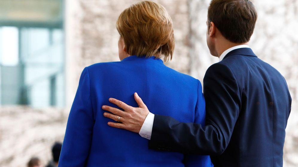 Foto: Angela Merkel, canciller alemana, junto a Emmanuel Macron, presidente francés, en una visita a Berlín