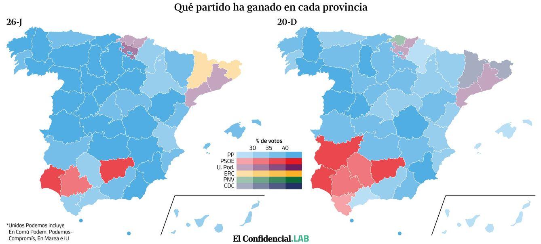 Quién ha ganado en cada provincia en estas elecciones generales del 26-J.
