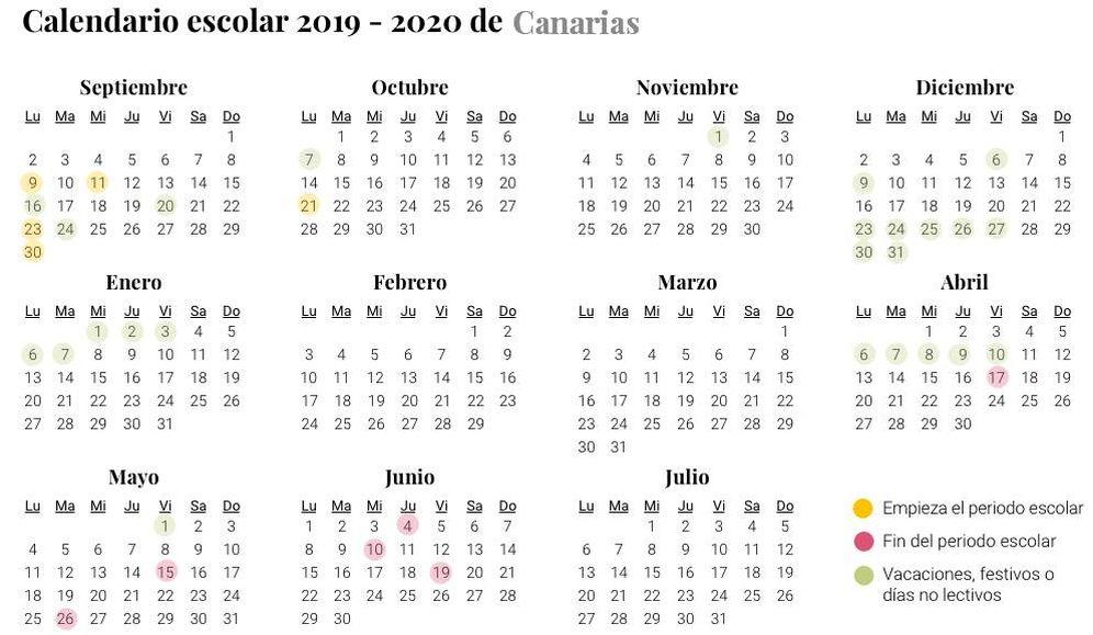 Calendario Escolar Aragon 2020.Calendario Escolar De Canarias Para El Curso 2019 2020