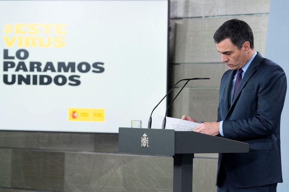 Foto: Pedro Sánchez, durante su comparecencia de este 4 de abril en la Moncloa. (Borja Puig | Moncloa)