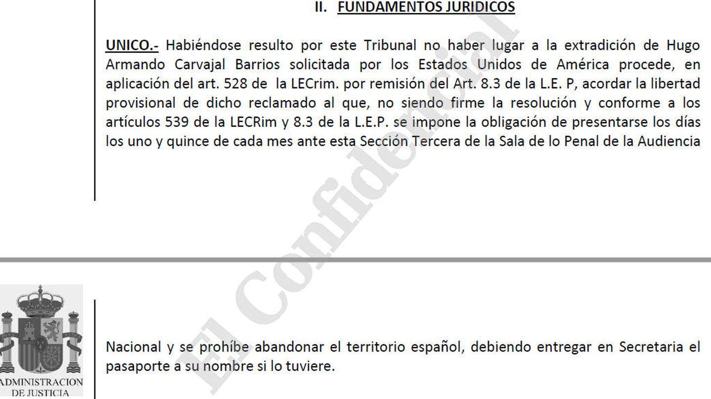 Fragmento del auto de libertad de Hugo Carvajal emitido por la Audiencia Nacional