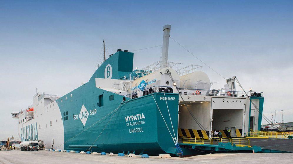 Foto: El Hypatia de Alejandría, nuevo buque de Baleària propulsado con gas natural que opera desde Barcelona.