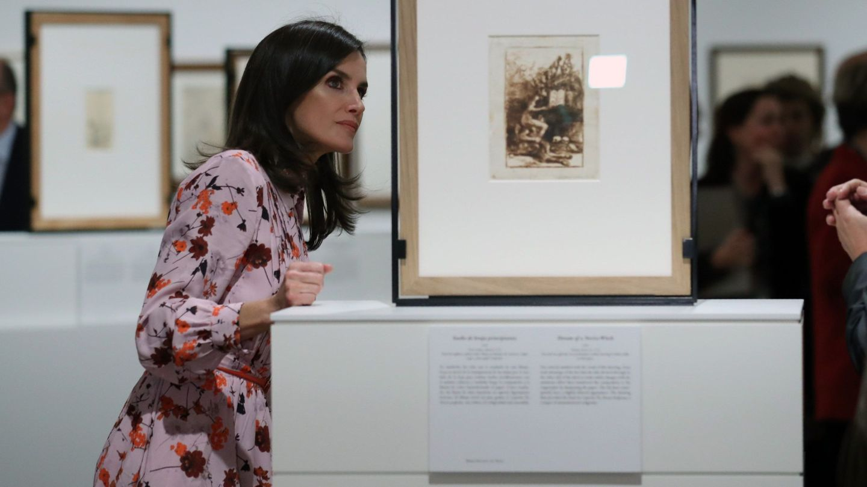 La reina Letizia, durante la inauguración de la exposición 'Solo la voluntad me sobra. Dibujos de Goya'. (EFE)