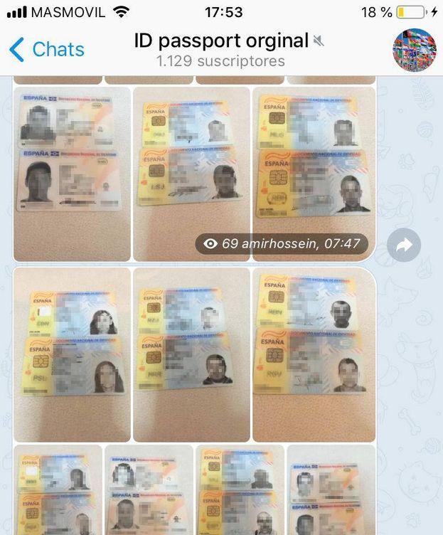 Foto: Algunos de los DNI que pueden encontrarse en el mercado negro de Telegram. (EC)