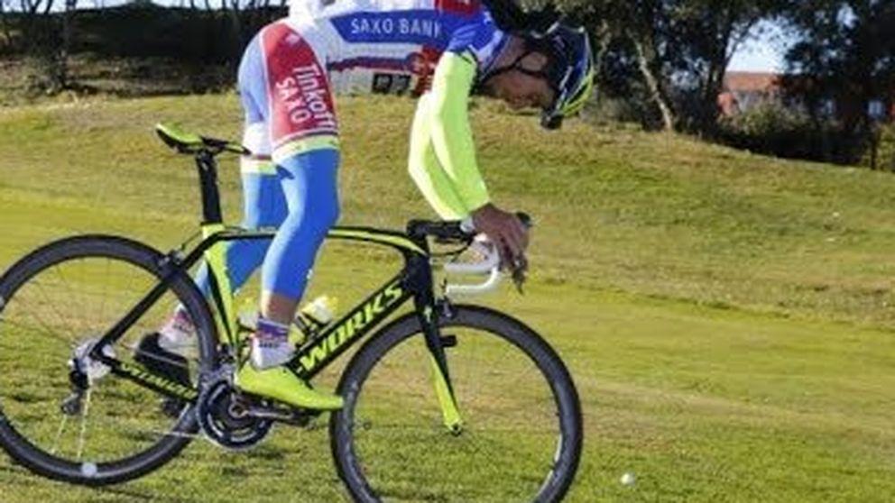 Peter Sagan juega al golf... con su bicicleta