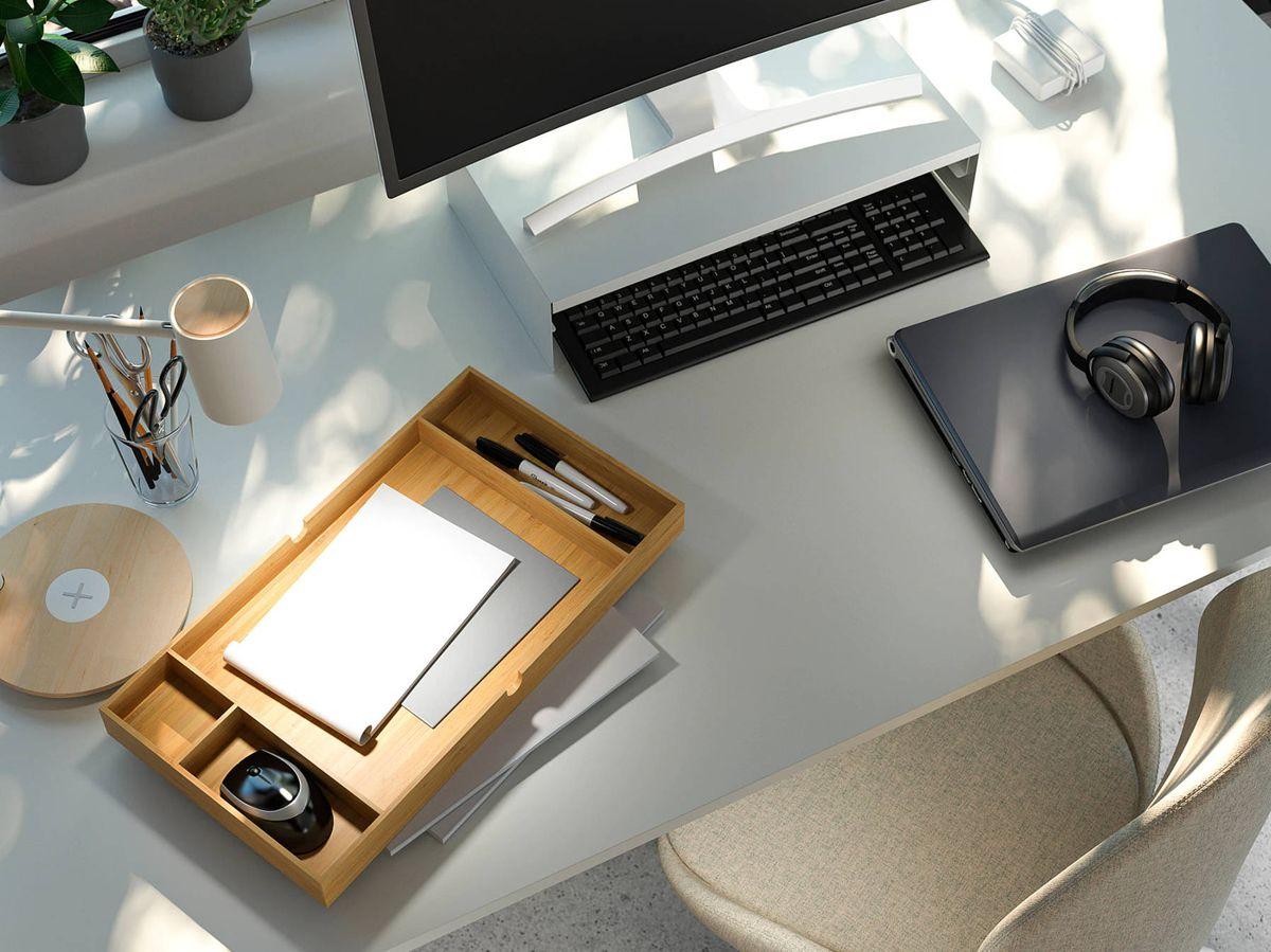 Foto: Esta base de Ikea es una práctica solución para escritorios. (Cortesía)