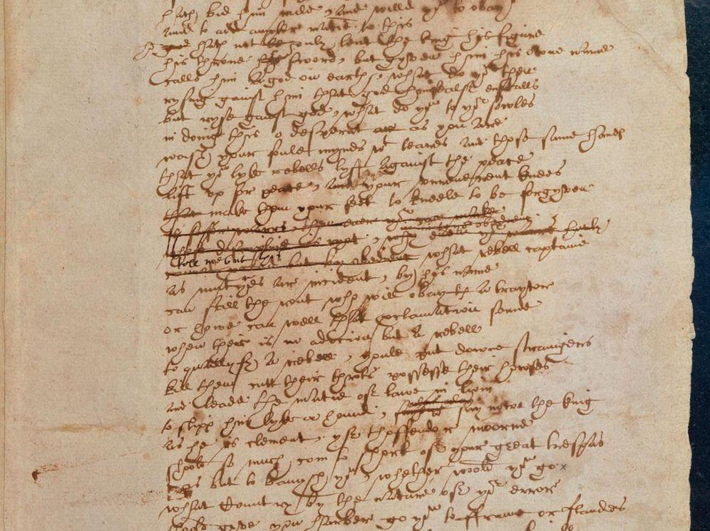 Foto: Texto manuscrito por Shakespeare en la obra 'El libro de sir Tomás Moro' (Biblioteca Británica)