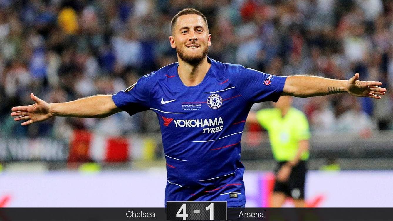 Foto: Eden Hazard marcó dos goles en la final de la Europa League que el Chelsea ganó al Arsenal. (Reuters)