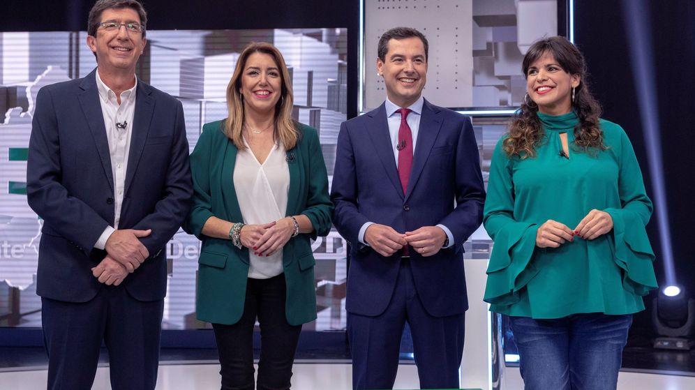 Foto: Los cuatro grandes candidatos, durante el debate celebrado en Canal Sur. (EFE)