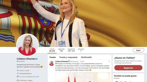 Cristina Cifuentes retira su cargo como presidenta de Madrid de su perfil de Twitter