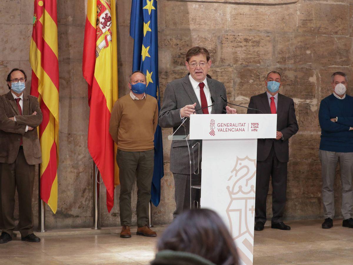 Foto: Ximo Puig, en la presentación del Plan Resiste tras reunirse con patronal y sindicatos. (GVA)