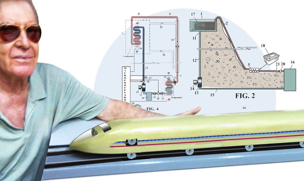 Foto: Muñoz, con su maqueta de un tren ultraligero indescarrilable. (Imagen: EC)