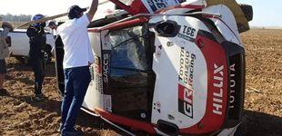 Post de Primer susto para Fernando Alonso: vuelca con el Toyota en su preparación al Dakar