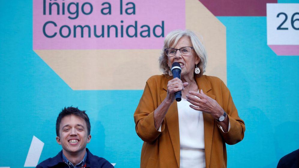 Foto: La exalcaldesa Manuela Carmena e Íñigo Errejón durante el acto de cierre de campaña de Más País en las pasadas elecciones municipales y autonómicas. (EFE)