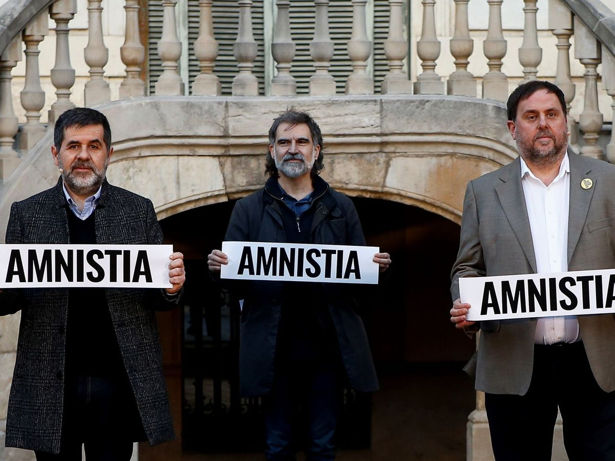Foto: Los presos del 'procés': Oriol Junqueras (d), Jordi Sànchez (i) y Jordi Cuixart (c). (EFE)