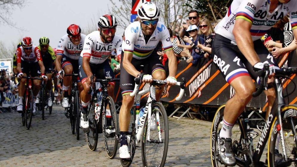 Foto: Alejandro Valverde, este domingo en Flandes. (@Movistar_Team)