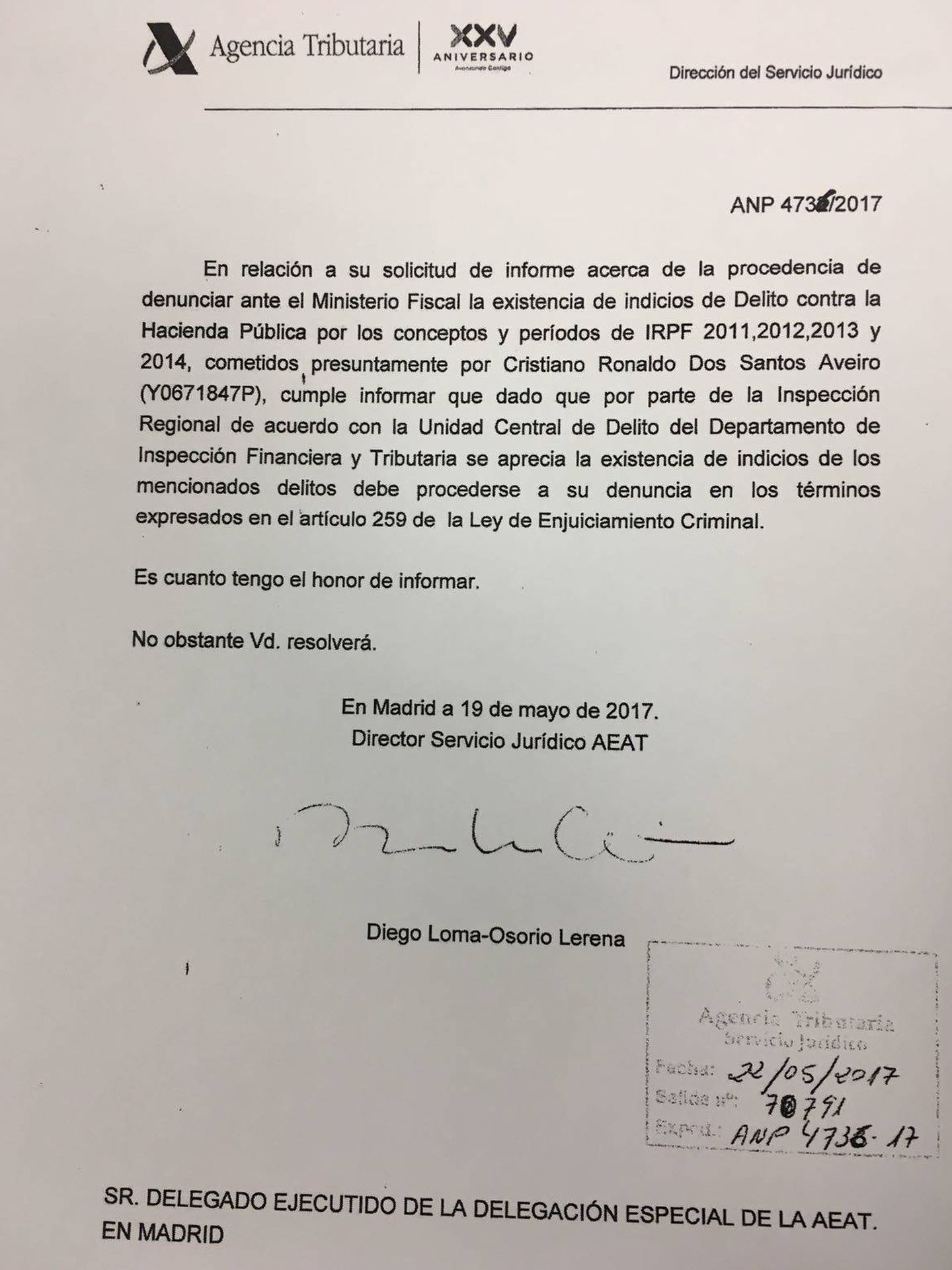 El informe de un folio para denunciar a CR.