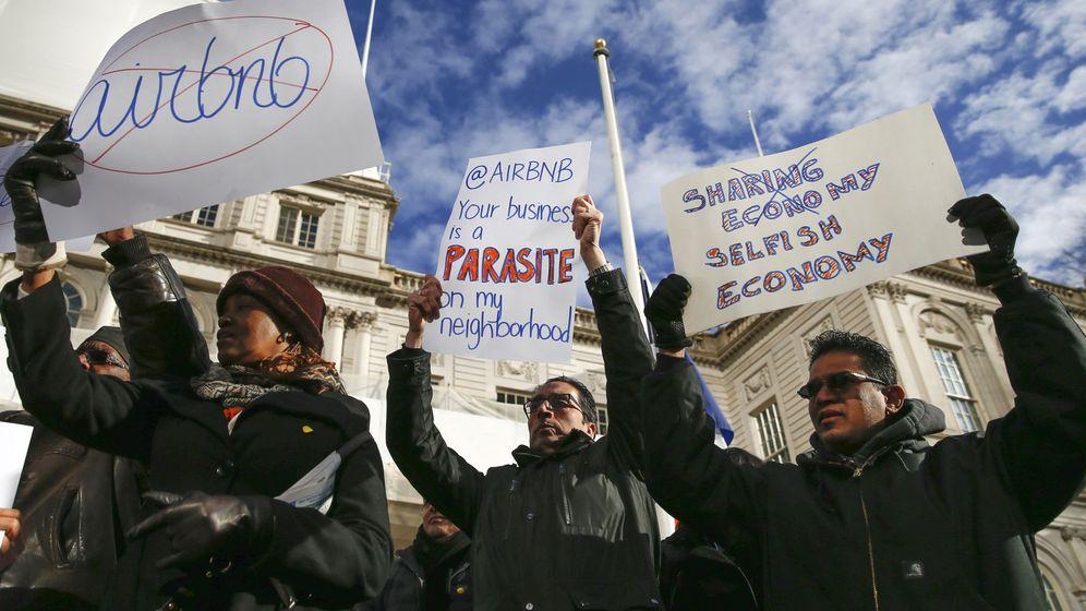 Foto: Protestas contra Airbnb en Nueva York. (Reuters)