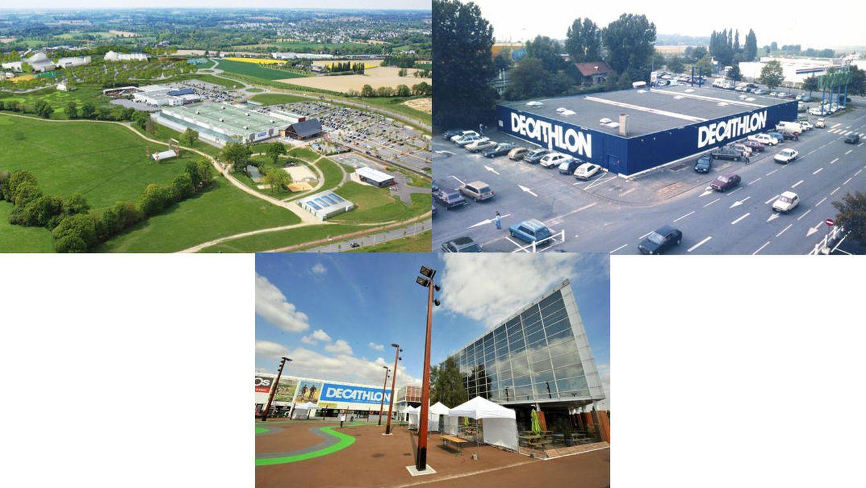 Foto: Foto izquierda y abajo: Campus de Decathlon en Lille. Foto superior derecha: Primera tienda que abrió la marca en Lille en 1976.