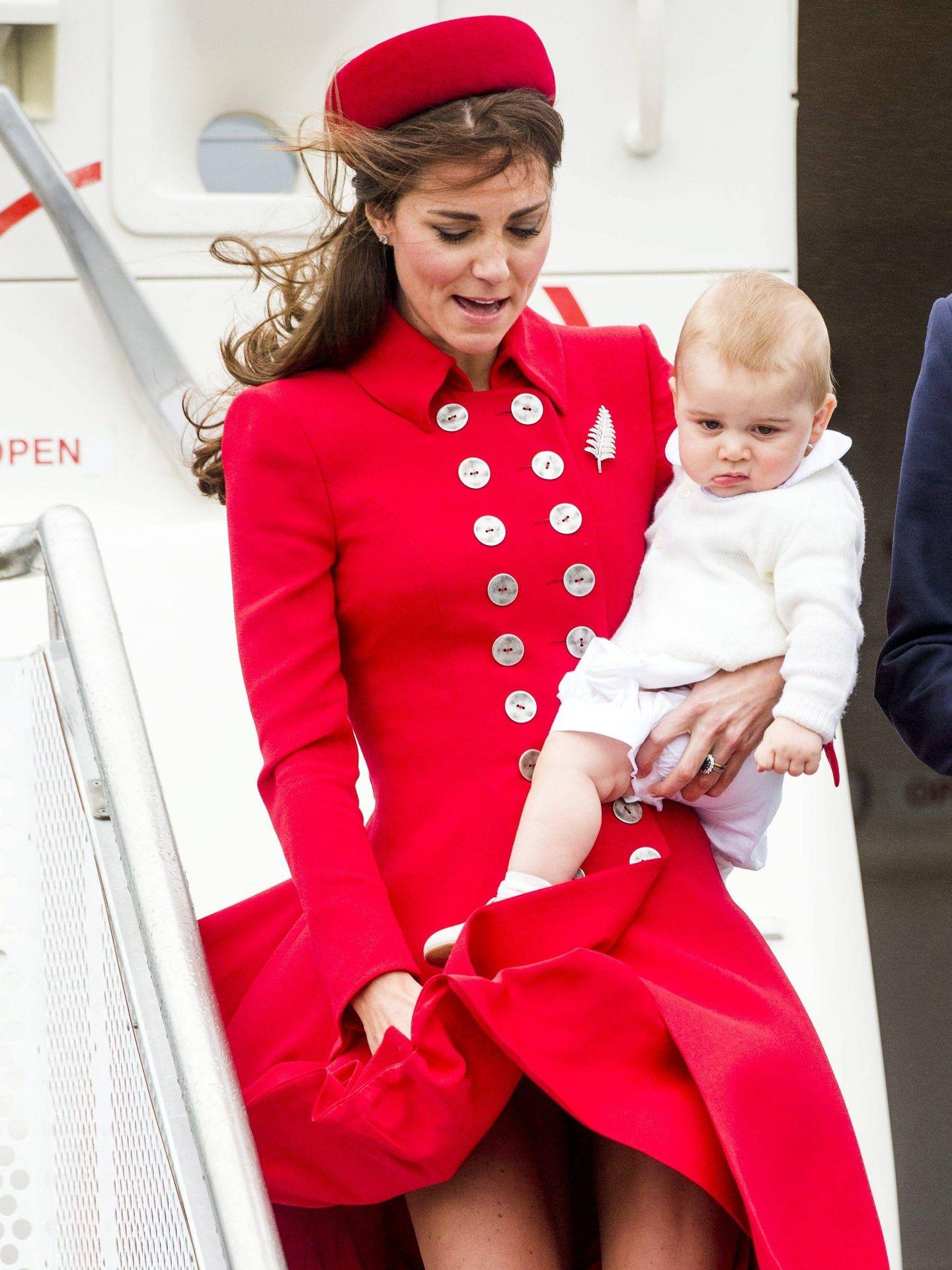 Kate Middleton, en una accidentada llegada a Nueva Zelanda. (Cordon Press)
