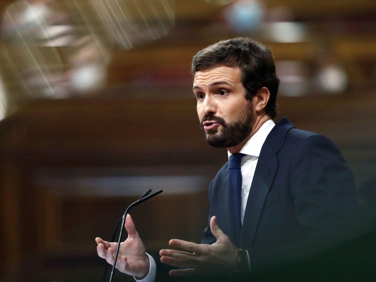 Foto: El presidente del Partido Popular, Pablo Casado, interviene durante el pleno del Congreso de los Diputados. (EFE)
