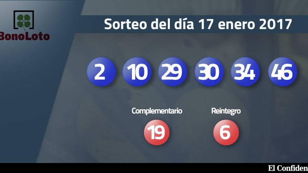 Resultados del sorteo de la Bonoloto del 17 enero 2017: números 2, 10, 29, 30, 34, 46