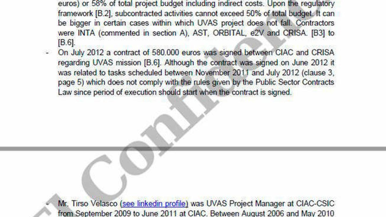 Uno de los informes confidenciales del instrumento UVAS a los que Serranía accedió. (Cedida / EC)