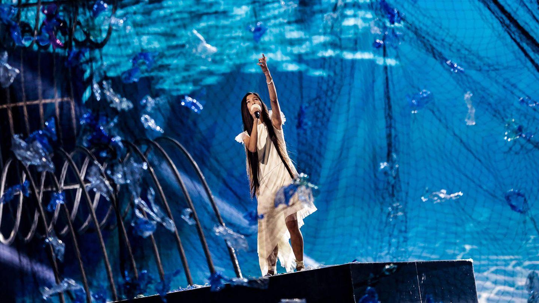 Melani, durante su primer ensayo en Eurovisión Junior 2019. (Thomas Hanses/TVE)