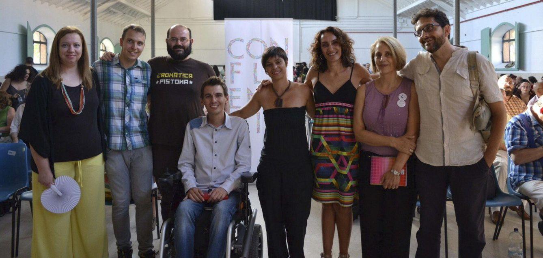 Los ediles Pablo Soto y Pablo Carmona junto a otros concejales de candidaturas unitarias durante la presentación de Ahora en Común. (Agustín Millán)