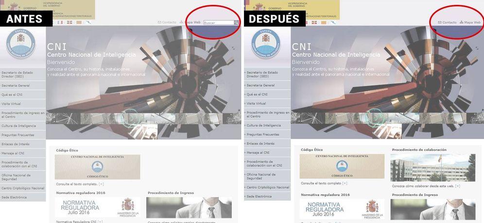 Foto: La web del CNI, ayer (imagen izquierda), con el buscador habilitado donde los 'hackers' encontraron la vulnerabilidad. La nueva versión de la página, hoy (dcha), ya no incorpora el buscador.