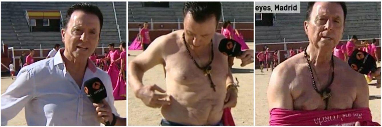 Foto: Ortega Cano la lía en 'Espejo público': se quita la camisa en defensa de la fiesta taurina