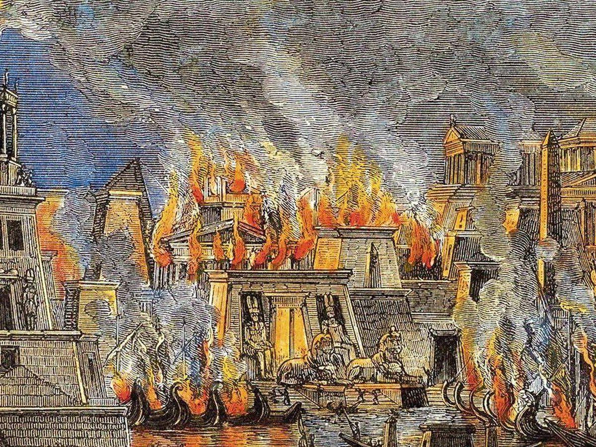 Foto: Grabado de 1876 que recrea el incendio de la Biblioteca de Alejandría
