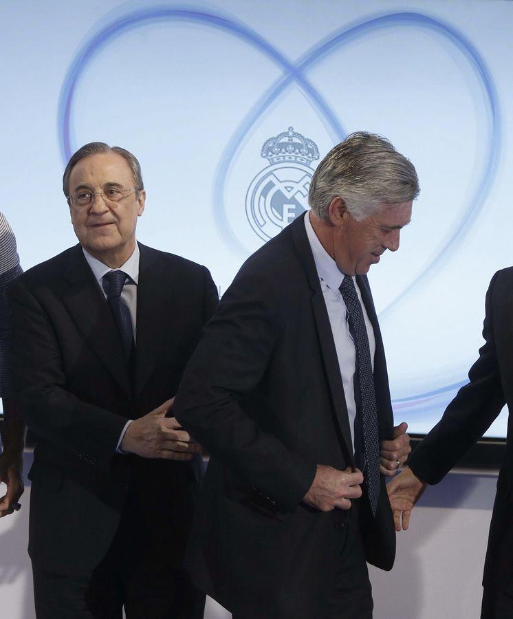 Foto: Florentino Pérez y Carlo Ancelotti la semana pasada, última vez que se les vio juntos.