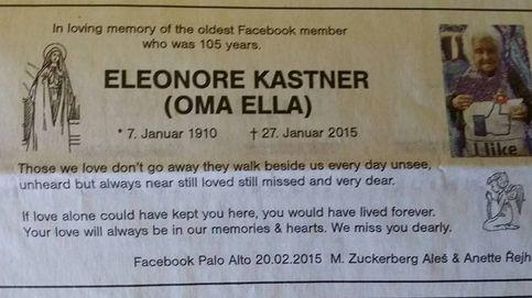 Zuckerberg dedica una necrológica a Oma Ella, la usuaria más anciana de Facebook