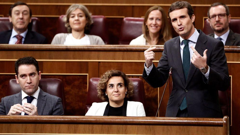 Foto: El presidente del Partido Popular, Pablo Casado, durante la sesión de control al Gobierno. (EFE)