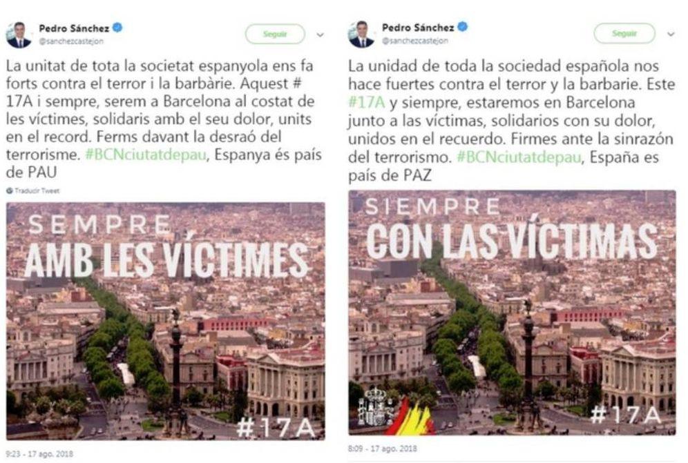 Foto: Los primeros 'tuits' de la cuenta de Pedro Sánchez, que después rectificó. (Twitter)