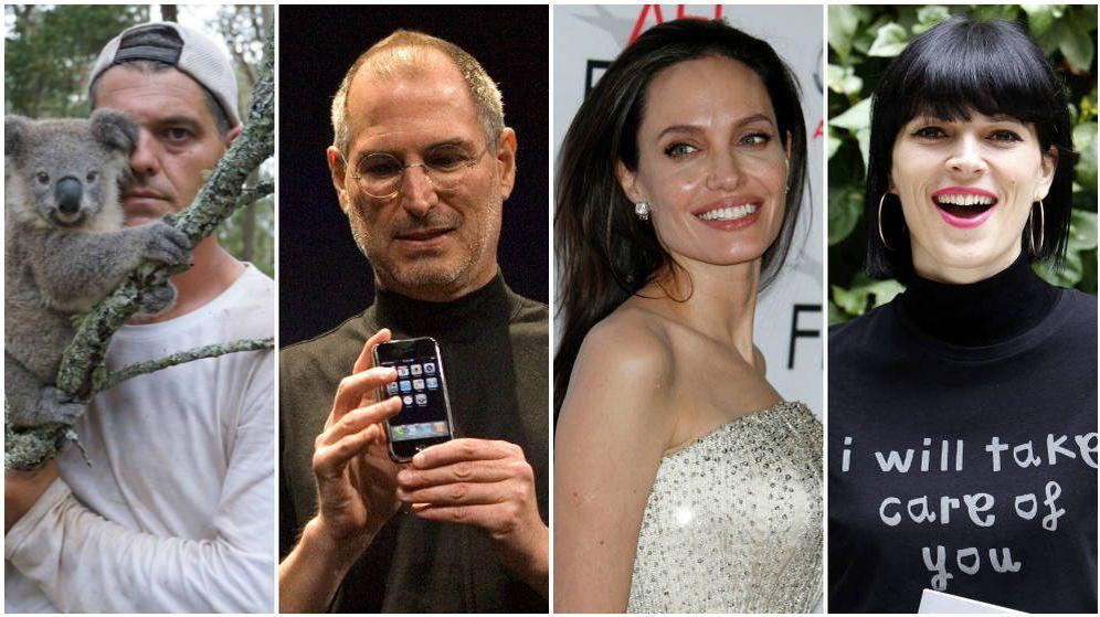 Foto: De izq. a dcha.: Frank Cuesta, Steve Jobs, Angelina Jolie y Bimba Bosé