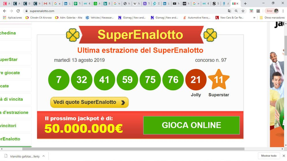 Foto: SuperEnalotto. Foto: Superlotto