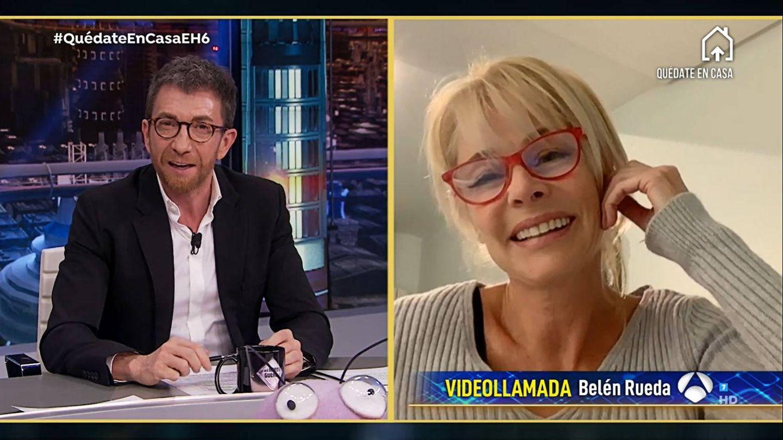 Belén Rueda, en videollamada con 'El hormiguero'. (Atresmedia)