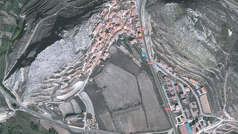 Vista cenital del pueblo de Gargallo. (Google maps)