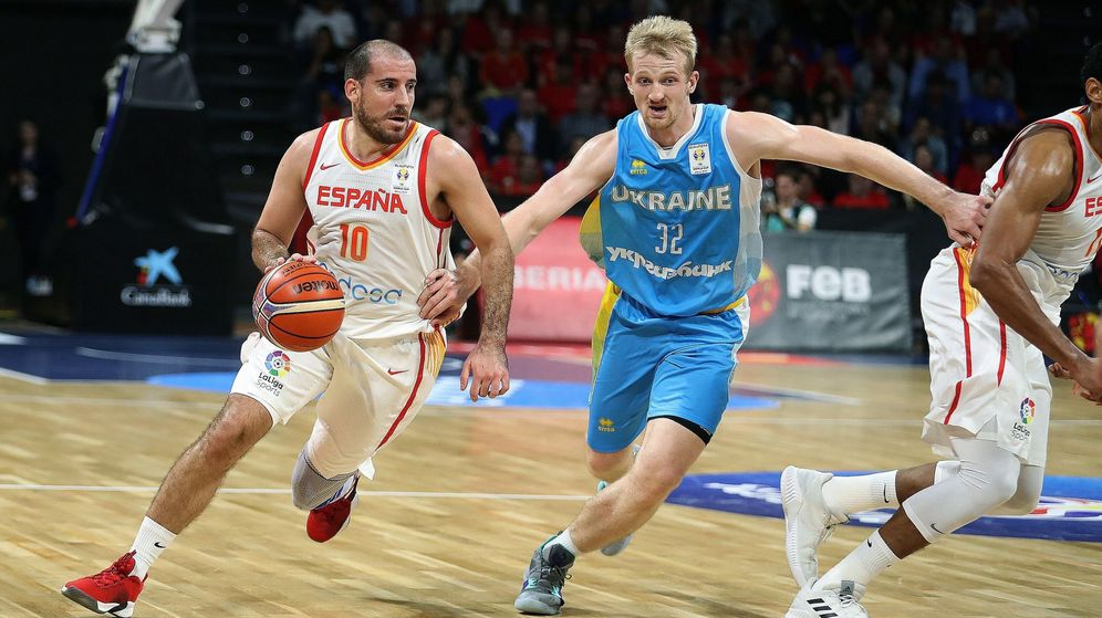 Foto: Quino Colom en el España-Ucrania jugado el 2 de diciembre de 2018 en Tenerife. (EFE)