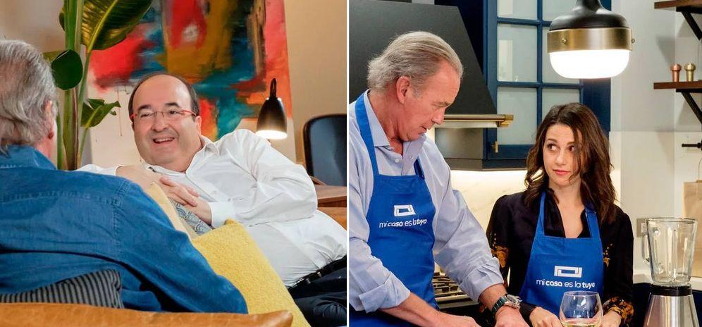 Foto: Miquel Iceta e Inés Arrimadas, charlando en el sofá y en la cocina de 'Mi casa es la tuya' con Bertín Osborne. (EC)