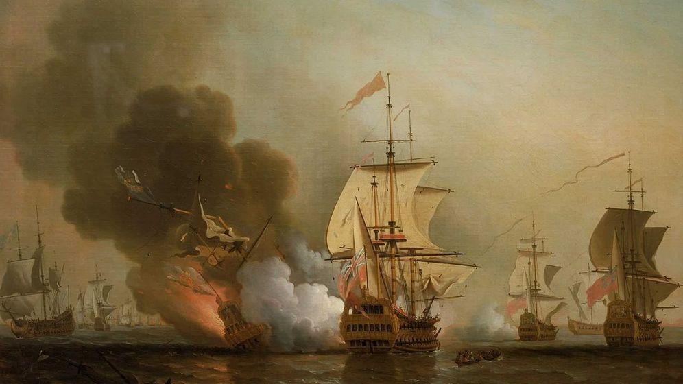 Foto: Acción frente a Cartagena. Cuadro del pintor inglés Samuel Scott (1702-1772) que representa la explosión del galeón San José.