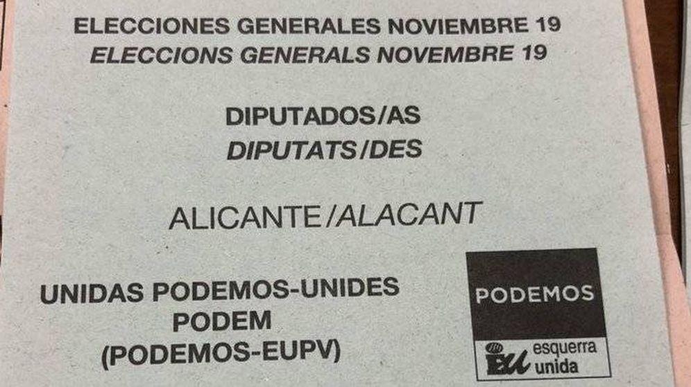 Foto: Las papeletas en las que pone 'noviembre 19' son válidas (IU)