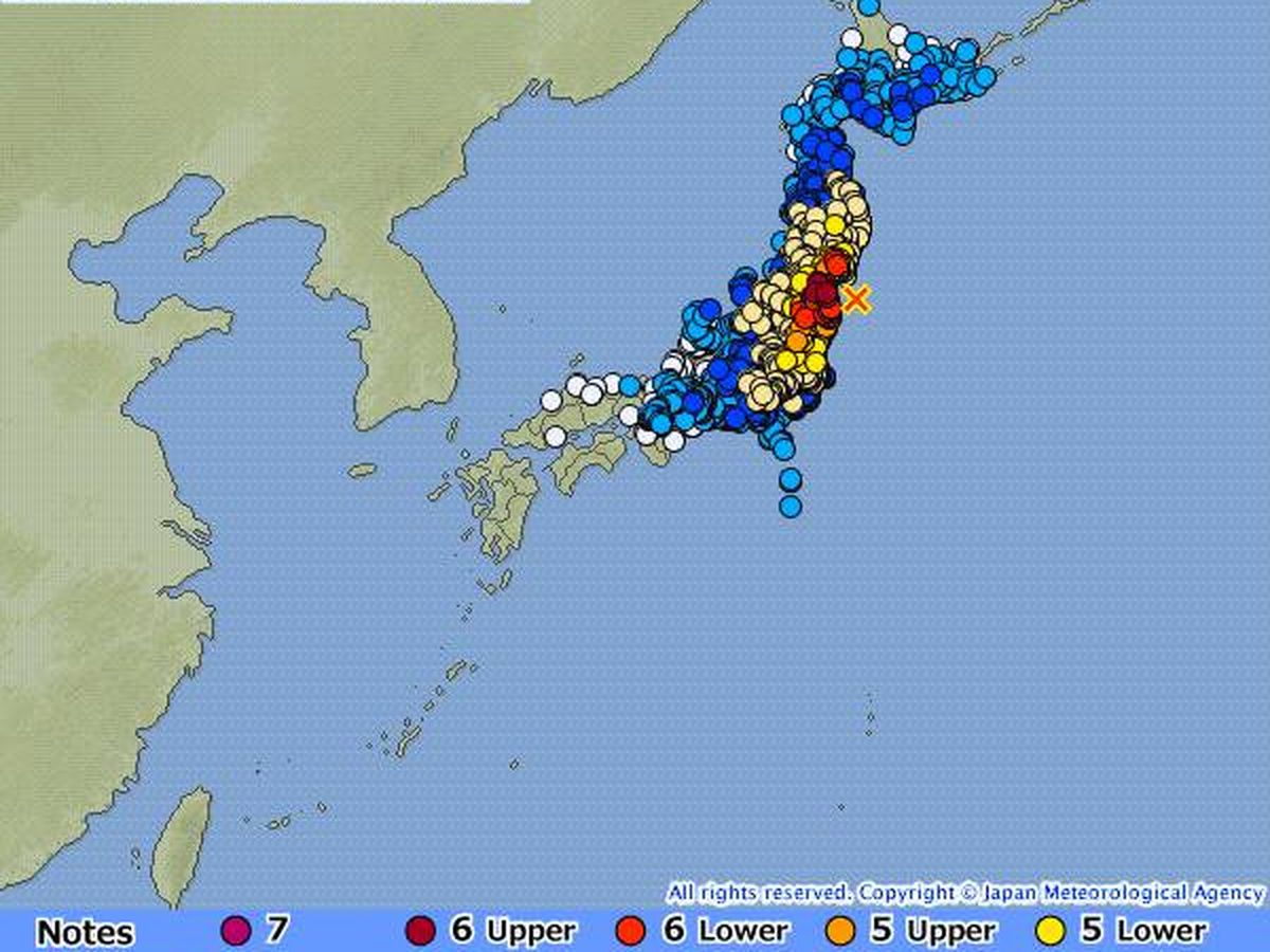 Foto: Impacto del terremoto. (Agencia meteorológica japonesa)