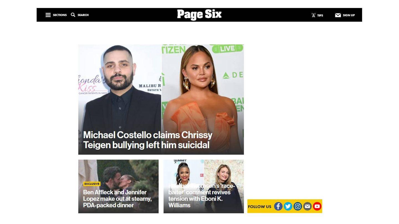 El beso de Ben Affleck y Jennifer Lopez en portada de 'Page Six'.