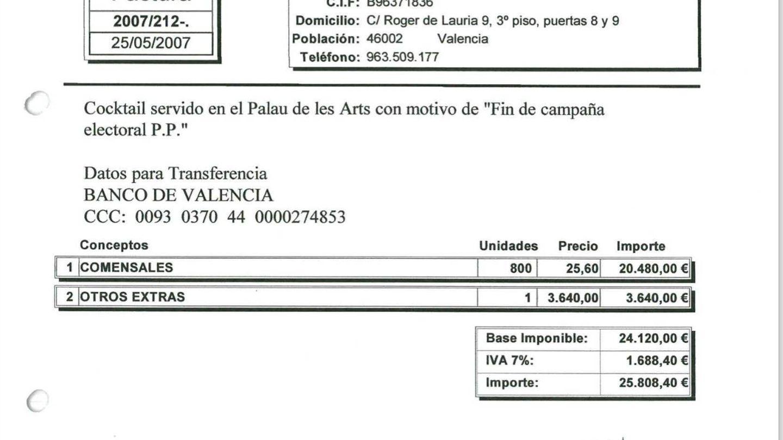 A todo tren: factura del cierre de campaña del PP de Valencia en 2007.