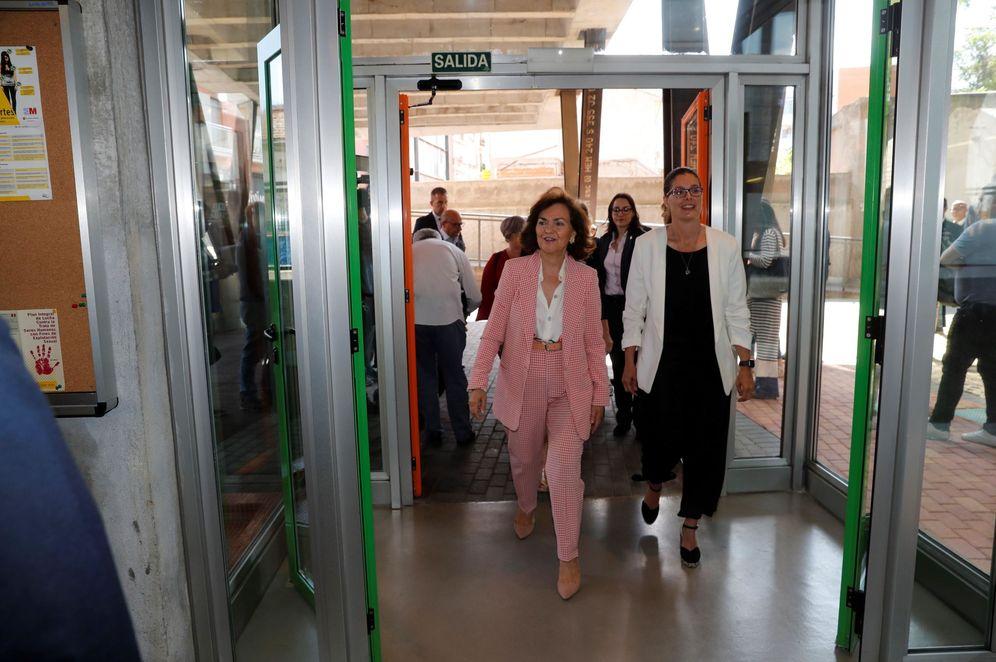 Foto: La vicepresidenta del Gobierno, Carmen Calvo, este 6 de junio en Móstoles, Madrid. (EFE)