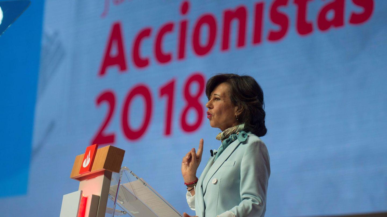 La presidenta del Banco Santander, Ana Botín, en la junta general de 2018. (EFE)